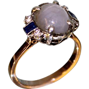 """Lady's 14 Karat Rose Gold """"Star Sapphire"""" and Diamond and Sapphire Ring"""