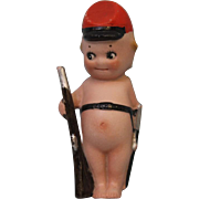 "4"" Antique Rose O'Neill German Bisque Kewpie Confederate Soldier Rifel &"
