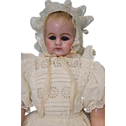"Antique 20"" English Poured Wax Doll Stamped Cloth Body, Christening Gown c.1870"