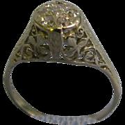 14 K White gold Fillagree Lady's Diamond ring with 7 diamonds size 7