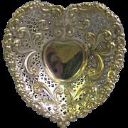 Elaborate Gorham Sterling Heart Shape dish for dresser, nuts, mints or trinkets