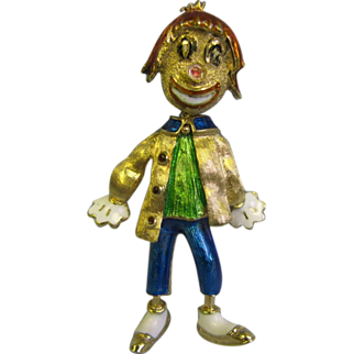 "SALE Vintage 14K Enamel designer character Clown Pin ""MAR"""
