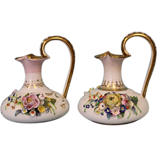 """SALE Pair of Ewers 6"""" English Crown Derby with applied flowers Circa 1830"""