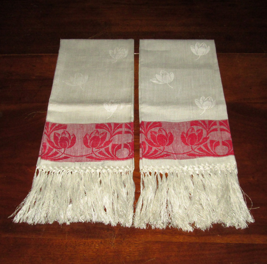 Victorian Red and White Towels with Tulips