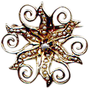Antique Gold Watch Pin with Seed Pearls