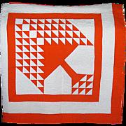 """Hand-Made Vintage Orange & White Patchwork """"Pine Tree"""" Quilt"""