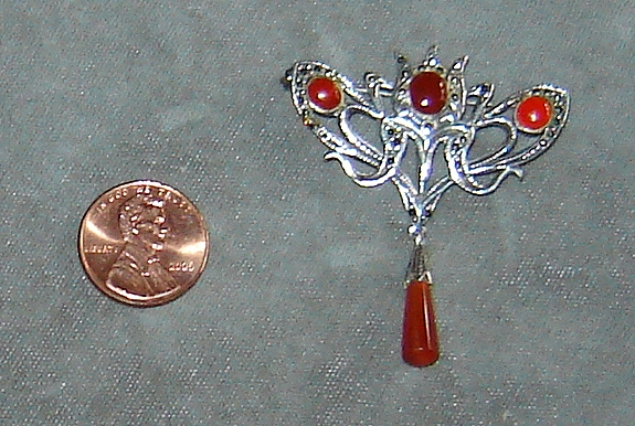 Sterling Silver and Marcasite Pin with Carnelian Stones