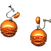 Carved Dark Caramel Bakelite Drop Earrings