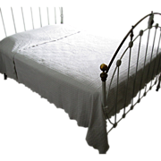 "White Sculptured ""Marseilles"" Coverlet with Sham"