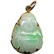 Carved Green Jade Buddha Pendant in 14K Gold