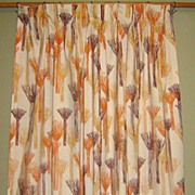 70's Drapery Panel with Abstract Orange & Brown Design
