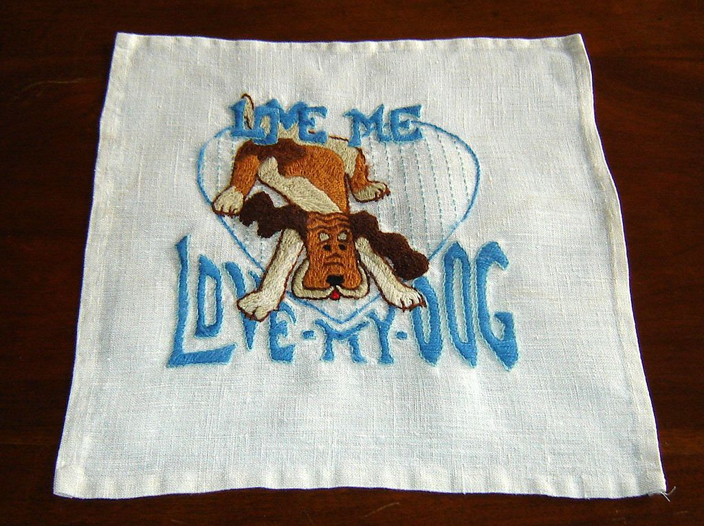 "Linen and Crewel-Work ""Love My Dog"" Pillow Front"