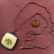 Sterling & Enamel Compact with Sterling Chain