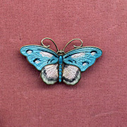 Norway Sterling Pink and Blue Enamel Butterfly Pin