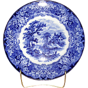"English Flow Blue 10 1/4"" Pottery ""Geneva"" Plate"
