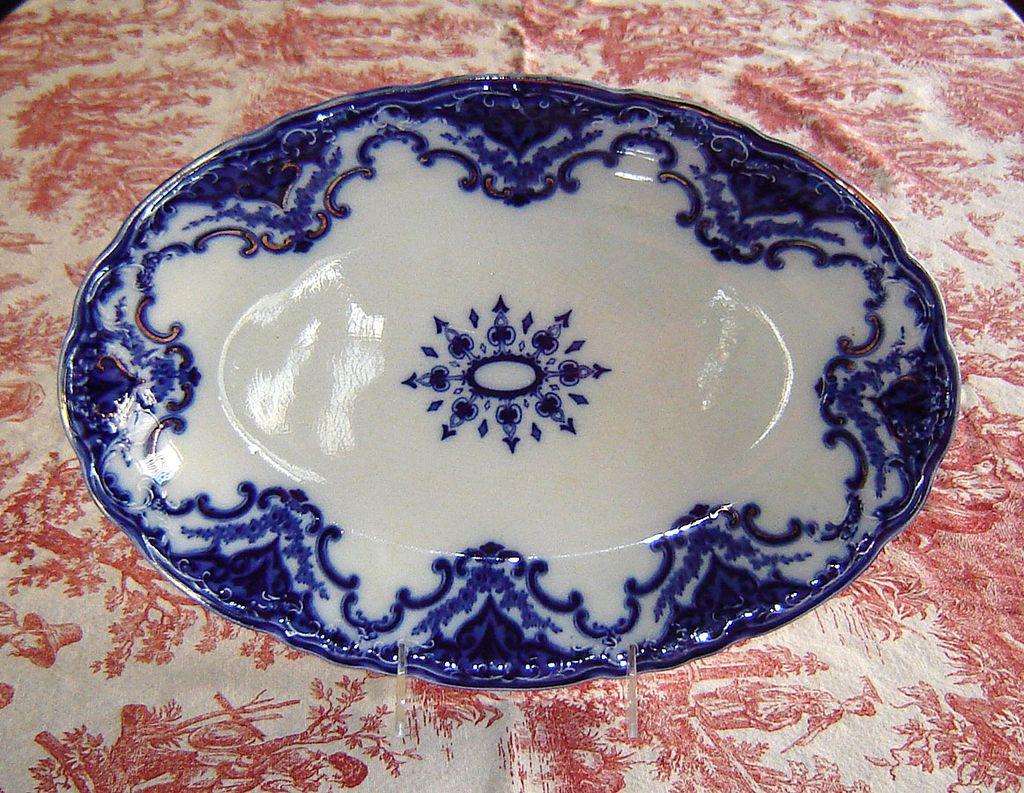 "Meakin English Ironstone Flow Blue ""Cambridge"" Platter"