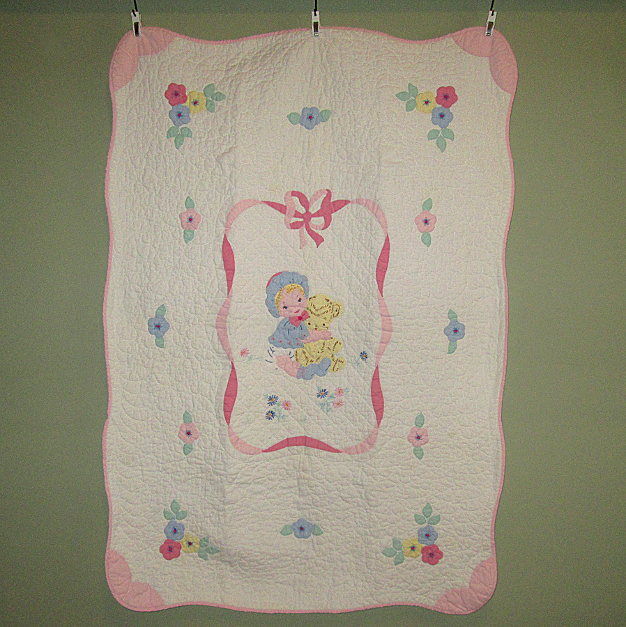 Vintage Hand-Made Crib Quilt with Appliques