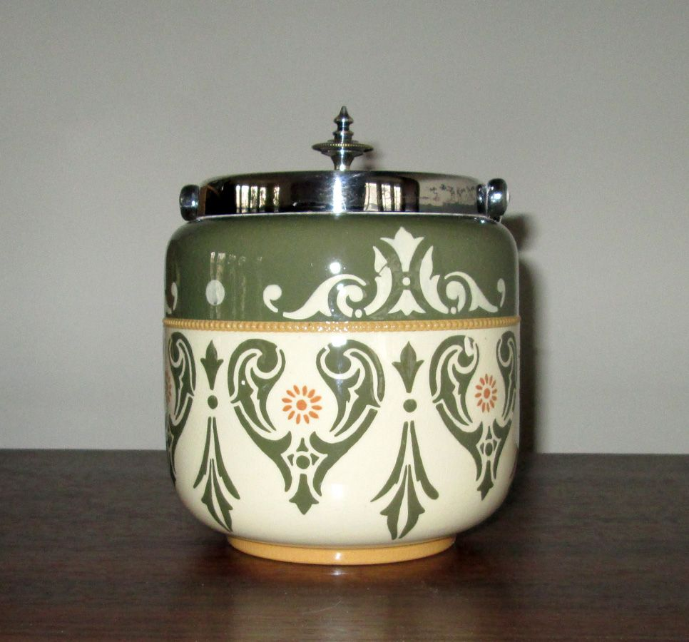 """English Hand-Decorated Pottery """"Lovique"""" Biscuit Jar"""