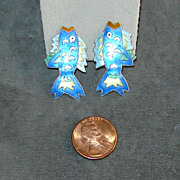 Sterling Silver  Blue Enamel Fish Post Earrings