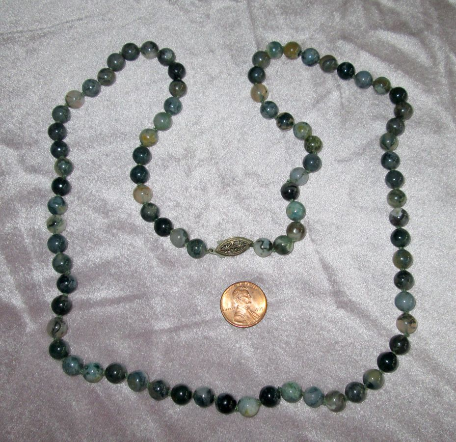 """30"""" Moss Agate Bead Necklace with Sterling Silver Clasp"""