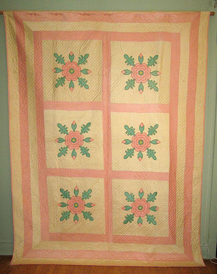 """Vintage Sateen """"Rose of Sharon"""" Appliqued Quilt"""