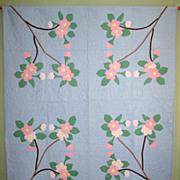 "Vintage Appliqued ""Cherry Blossom"" Quilt"