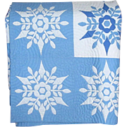 Hand-Appliqued Blue and White Snowflake Quilt
