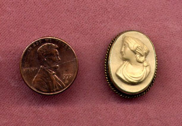 Small Gold-Filled Lava Cameo Pin