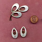 Denmark Sterling and White Enamel Pin and Earring Set