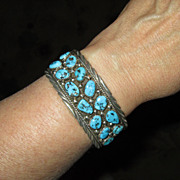 Sterling Silver Cuff Bracelet with Turquoise Stones