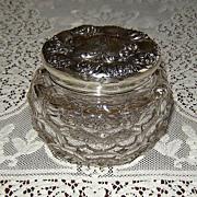 Crystal Powder Jar with Fancy Sterling Silver Top