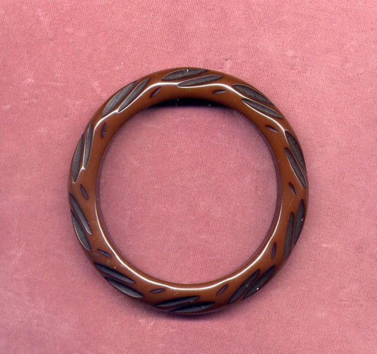 Carved Brown and Black Bakelite Bangle Bracelet