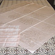 Pink Rayon Double Damask Bridge Cloth with 4 Napkins