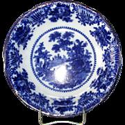 """English Pottery Flow Blue """"Fairy Villas"""" Serving Bowl"""