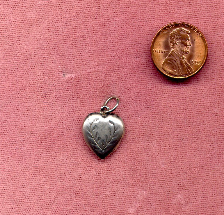 Sterling Silver Engraved Puffed Heart Charm