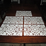 Set of Five Placemat Doilies with Fancy Cutwork
