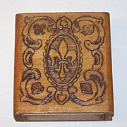 "Bookshelf Pyrographic Playing Card Box, ""Fleur-de-LIs"""