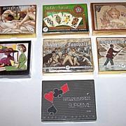 "7 Double Decks Piatnik Playing Cards $15 / each: ""Botticelli,"" ""Tudor Rose,"" ""Mucha,"" ""Picasso,"" ""Vintage Football,"" ""Vintage Fishing"" ""Supreme -- Musical Score"""