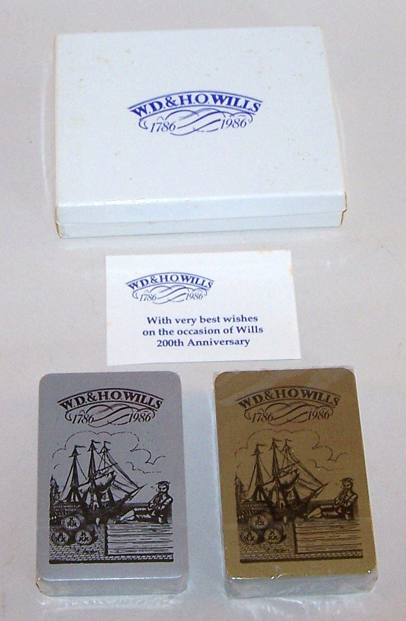 """Double Deck """"W.D. & H.O. Wills"""" Playing Cards, Company Bicentennial Celebration, Maker Unknown, c.1986"""