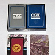 "4 Sets Railroad Playing Cards, Various Prices $5-$10/ea.: (i) Double Deck Whitman ""CSX,â€"