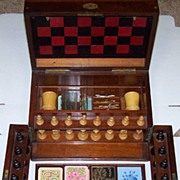 Victorian Walnut Games Compendium w/ Leather Game Boards, Steeplechase Game, Staunton-Type Che