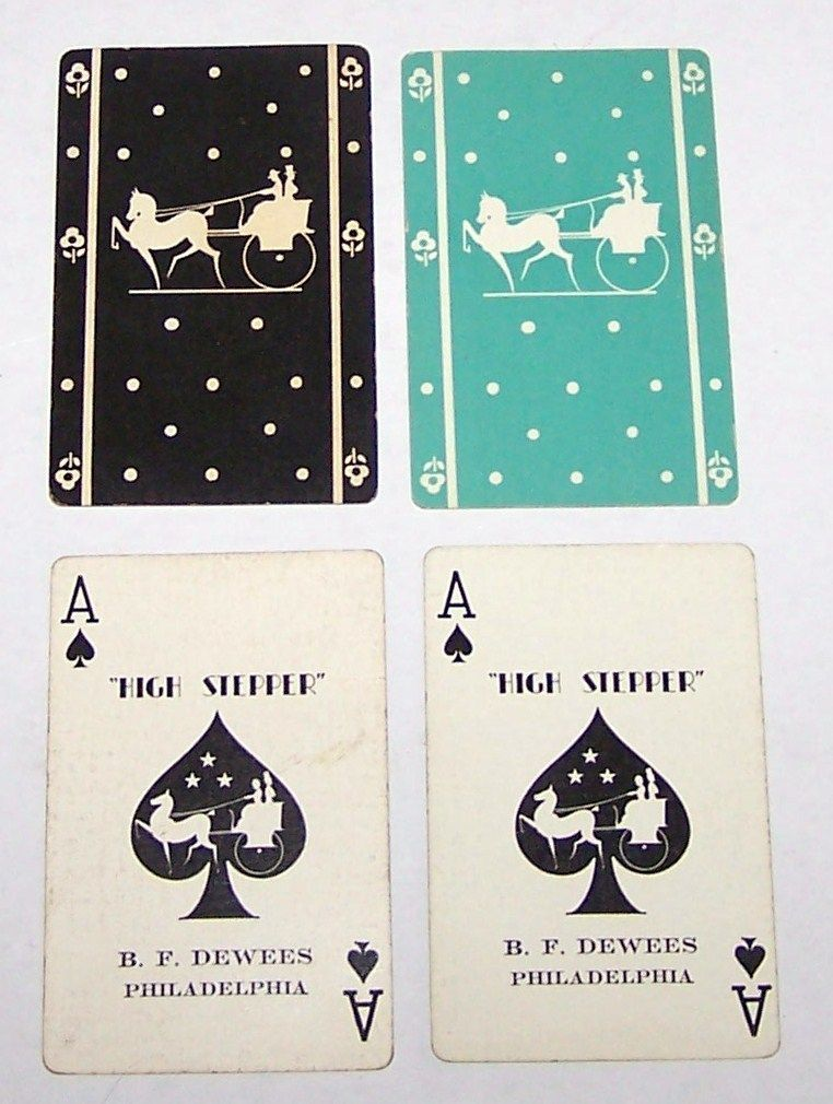 """Double Deck Gibson """"Hi-Stepper"""" Playing Cards for B.F. Dewees, Philadelphia (each 52/52, NJ), c.1930"""