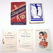"British Vintage ""Stiptease"" Card Game, Maker Unknown, Barribal Designs (?), c. 1930s"