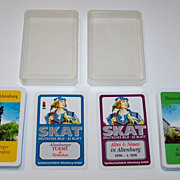 """2 Decks """"Limited Edition"""" Spielkartenfabrik Altenburg Skat Playing Cards, """"Altenburger Türme & Türmchen"""" and """"Altes & Neues in Altenburg,"""" Altenburg Souvenir, Altenburger Skatbrunnenfest, 1998 ($15/ea. separate)"""