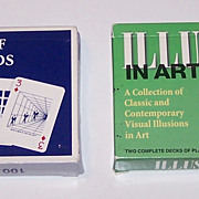 """2 Double Decks Carta Mundi """"Illusion"""" Playing Cards, Y&B Associates, Inc. Publisher, $15/ea.: (i) """"Two Decks of Playing Cards with over 100 Illusions and Visual Oddities,"""" c.1987; (ii) """"Illusions in Art,"""" c.1997"""