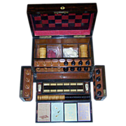 Victorian Walnut Games Compendium w/ Leather Game Board, Staunton-Type Chess Set, Checkers, Cr