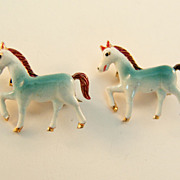 Tiny Plastic Scatter Pins of Prancing Ponies, Made in Korea c.1950