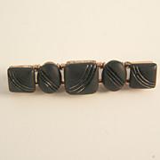 Vintage Matte Black Glass Bar Pin