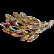 Golden Aurora Borealis Rhinestone Foliate Brooch