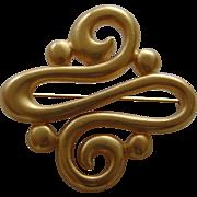 Large Matte Gold Tone Swirl Brooch